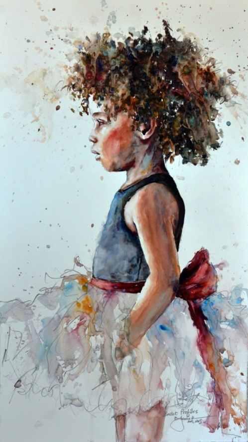 2018 Ballet Profiles 13x23 little girl dancer watercolor