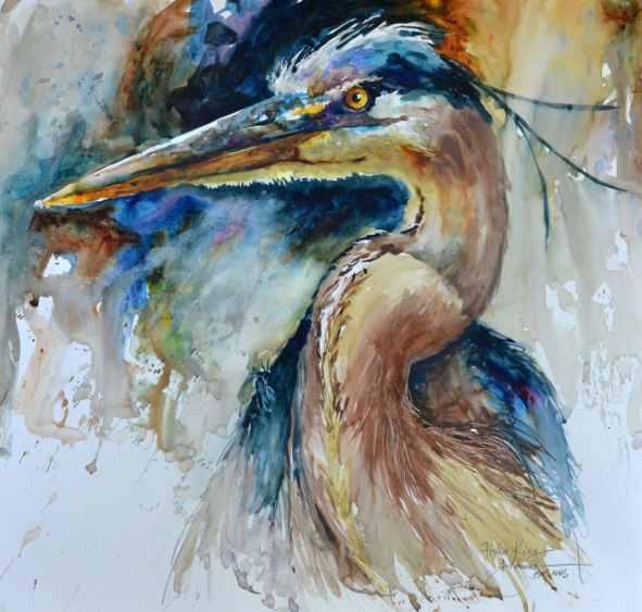 2018 Fisher King bird watercolor by by Bev Jozwiak