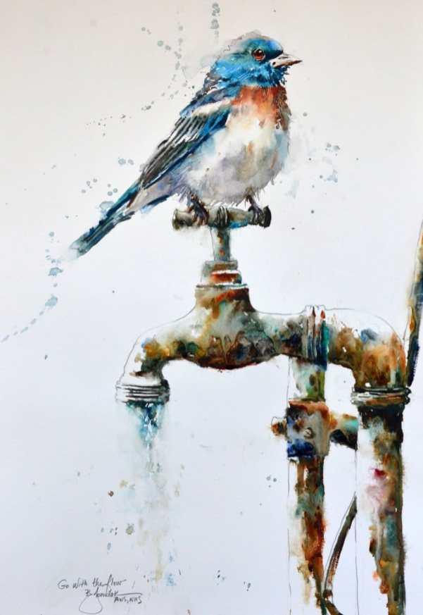 2020 Go with the Flow 15x22 Bluebird Watercolor by Bev Jozwiak