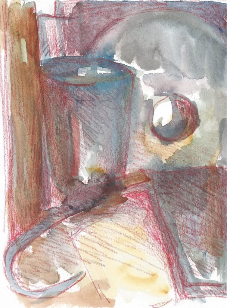 Still life, watercolor and watercolor pencils, small size, 2020 r. 34(1)_18x21_2020