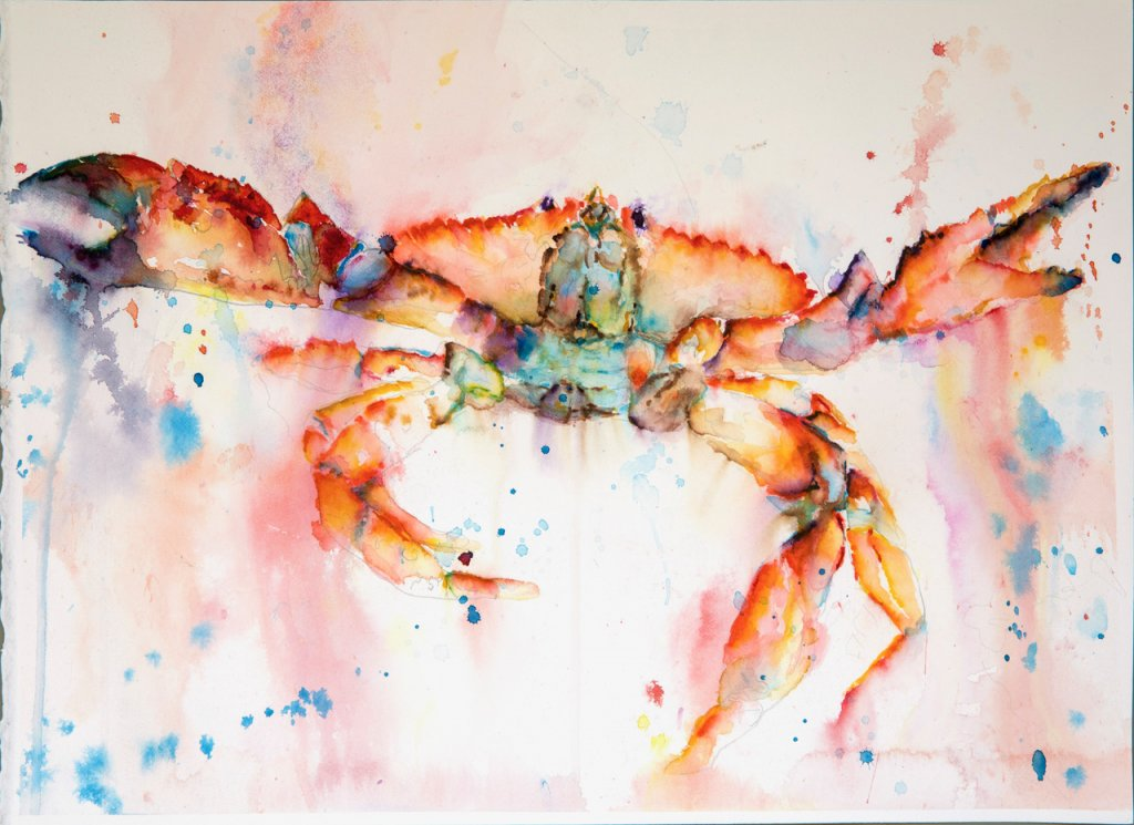 Crab watercolor by Lavonne Cookman