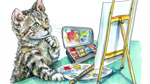 Cat Thinking Artist Easel Paint Watercolor Painting Illustration
