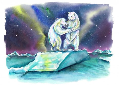 Polar Bears Dancing Northern Lights Aurora Watercolor Painting Illustration