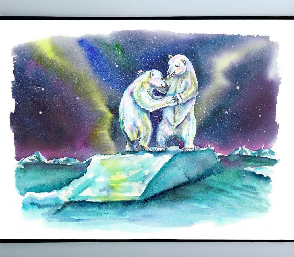 Day 12 - Polar Bears Dancing Northern Lights Aurora Watercolor Painting Illustration_IG