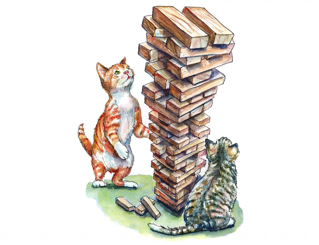 Kittens Playing Jenga Wooden Blocks Game Watercolor Painting Illustration