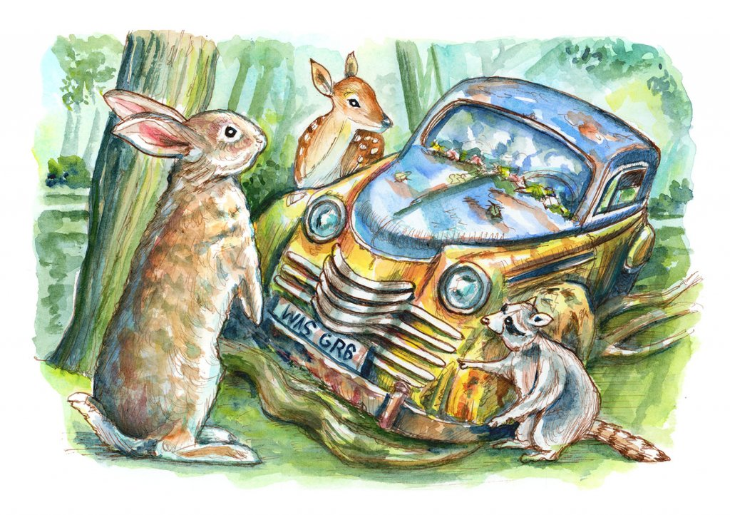 Woodland Animals Rabbit Deer Raccon Finding Rusted Car In Forest Watercolor Painting Illustration