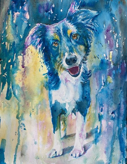 Dog watercolor by Lavonne Cookman
