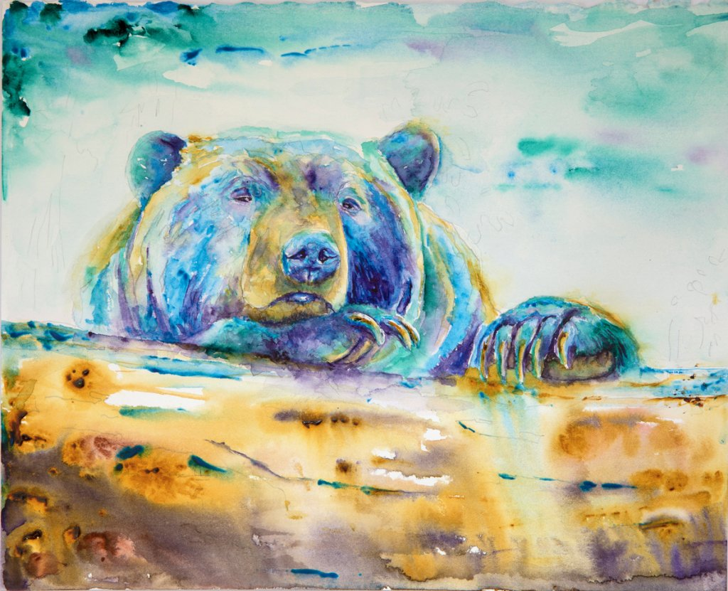 Irridescent Bear Watercolor Painting