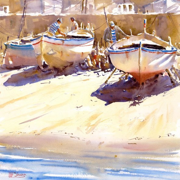 SUNNY DAY, GIGLIO ISLAND Boats Watercolour Painting
