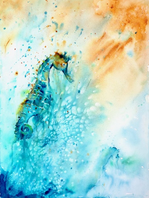 Seahorse watercolor by Lavonne Cookman