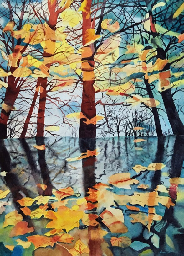 Trees with leaves Watercolor Painting