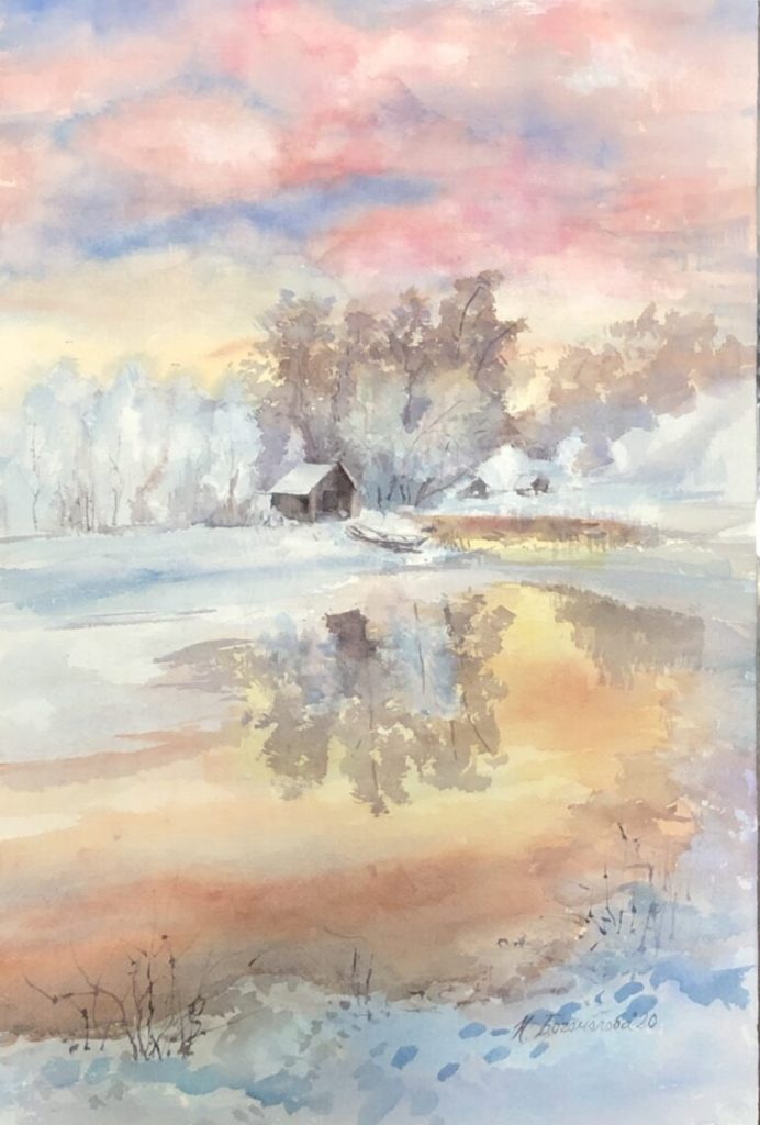Nadezhda Bogomolova – Watercolor Painting Artist Winter-landscape-painting-Frosty-morning-768&
