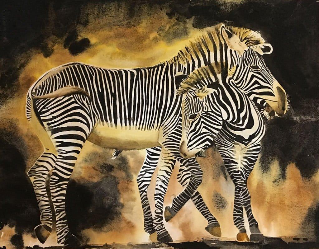 Zebras watercolor Painting by Gail Juszczak
