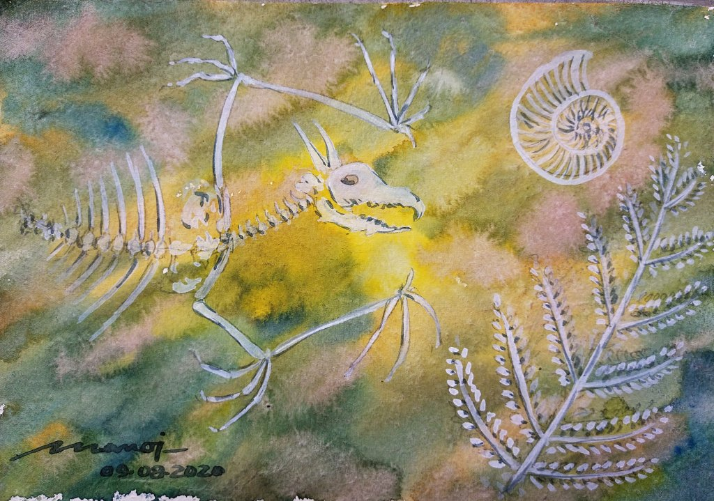 Dt: 09.08.2020 Sub: FOSSIL Watercolor painting on handmade paper inbound182484179586513160