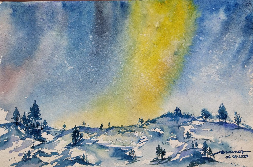 Dt: 06.08.2020 Sub: NORTHERN LIGHTS Watercolor painting on handmade paper inbound4983617183954121448