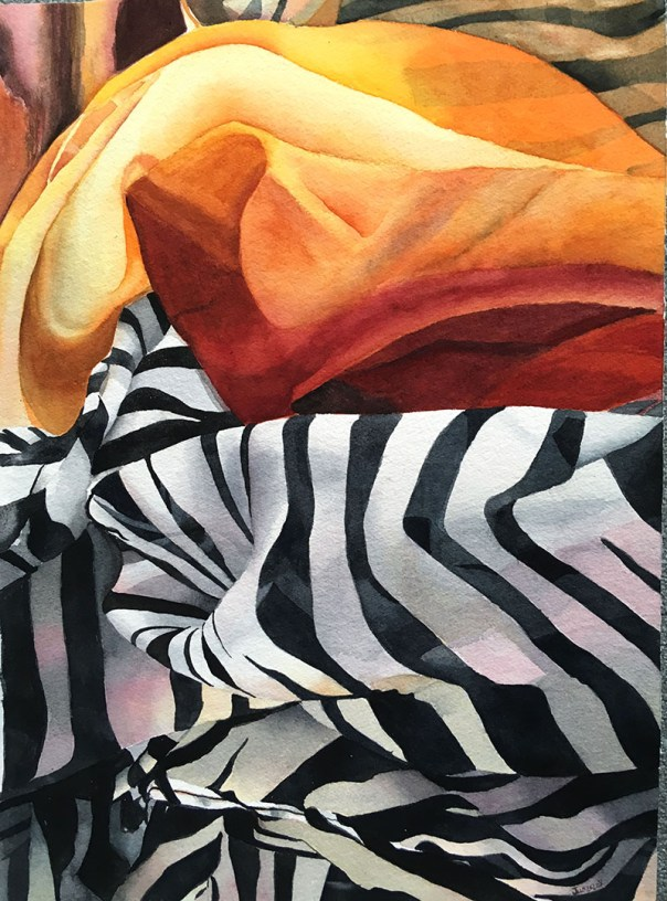 zebra orange Fabric and patterns watercolor painting