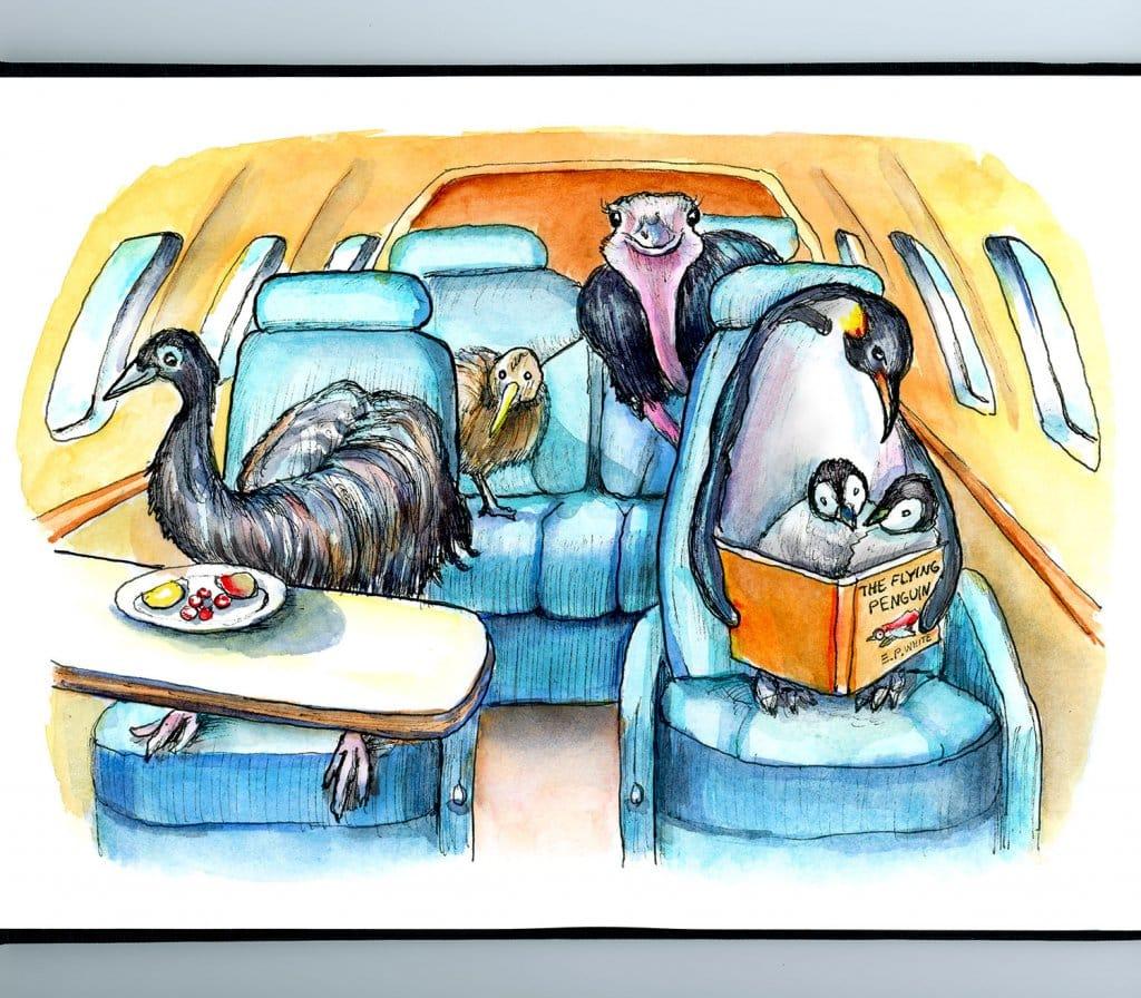 Flightless Birds Emu Ostrich Emperor Penguin Kiwi On Airplane Jet Watercolor Painting Illustration_IG