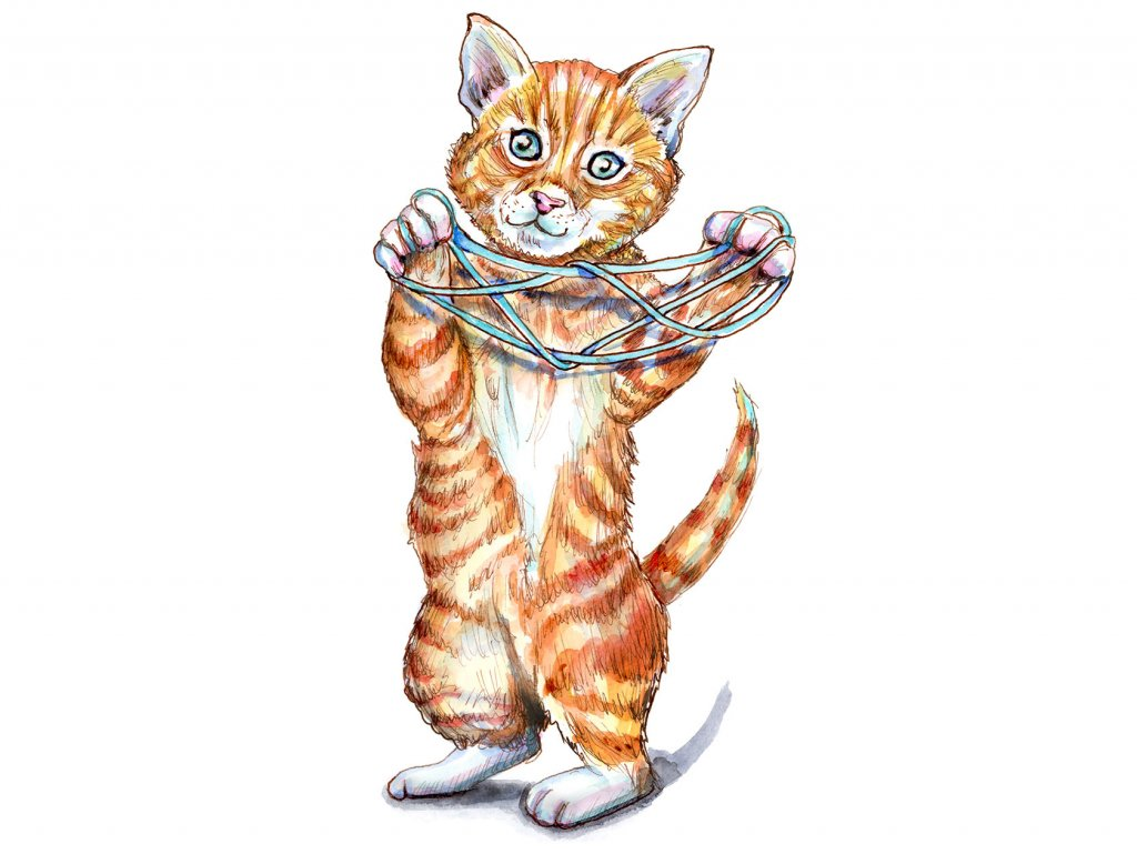 String Game Cats Eye Kitten Childhood Games Watercolor Painting Illustration