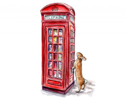 London Phone Booth Rabbit Watercolor Painting Illustration