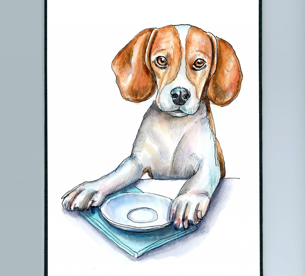 Beagle At Table Waiting For Food Watercolor Painting Illustration Sketchbook Detail