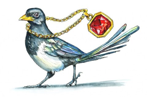Magpie Stealing Jewelry Shiny Objects Gemstone Necklace Watercolor Painting Illustration