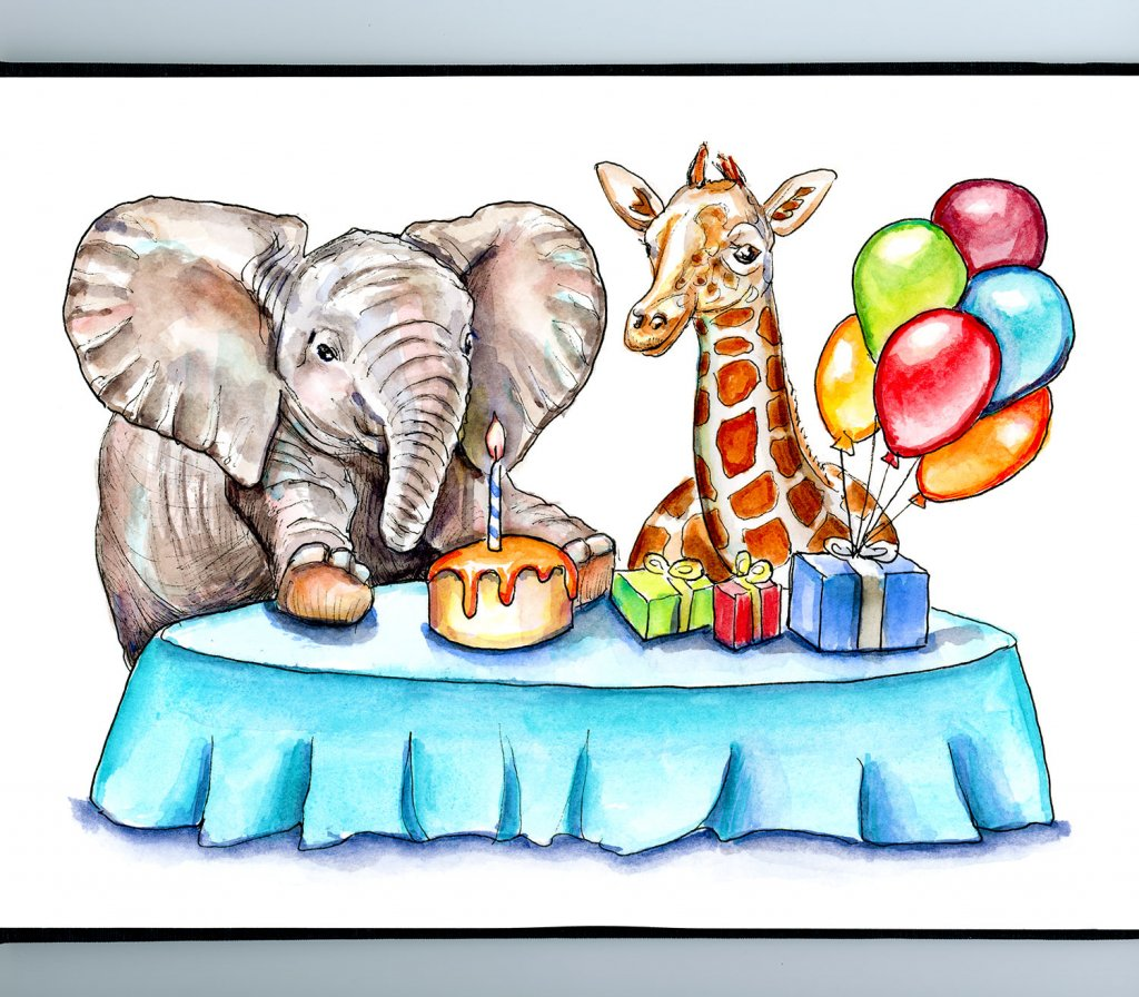 Baby Elephant And Baby Giraffe Birthday Party Watercolor Painting Illustration Sketchbook Detail