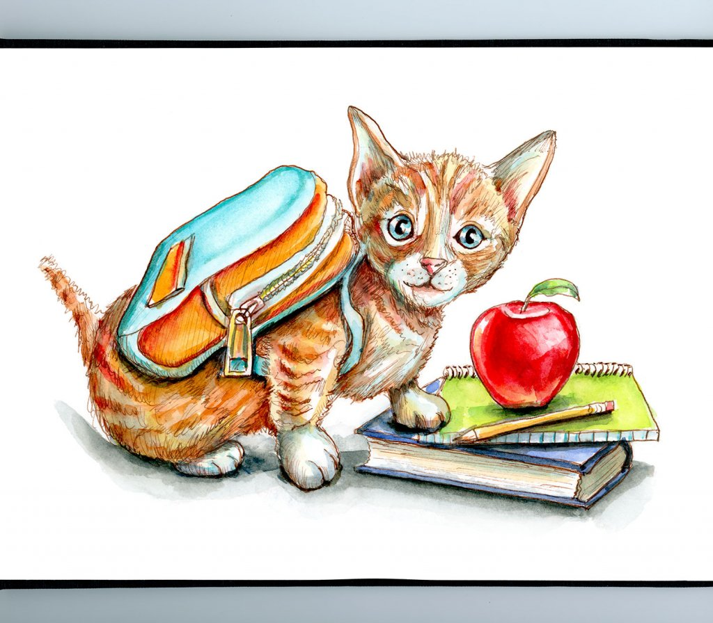 Kitten Wearing Backpack First Day Of School Supplies Watercolor Painting Illustration Sketchbook Detail