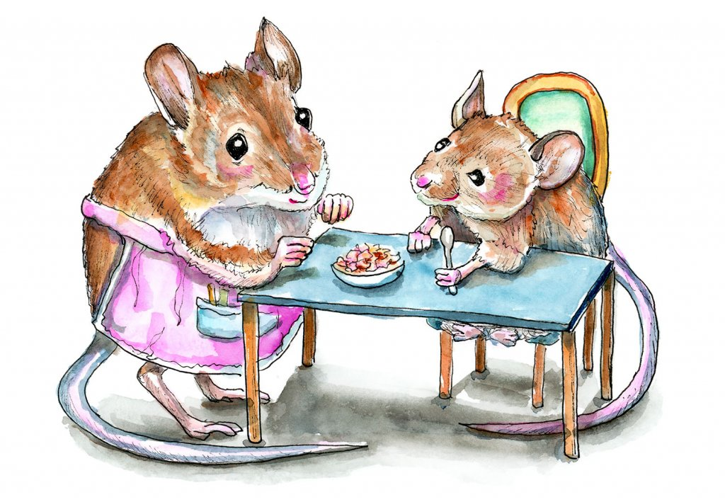 Two Mice Granmother Child Supper Dinner Watercolor Painting Illustration