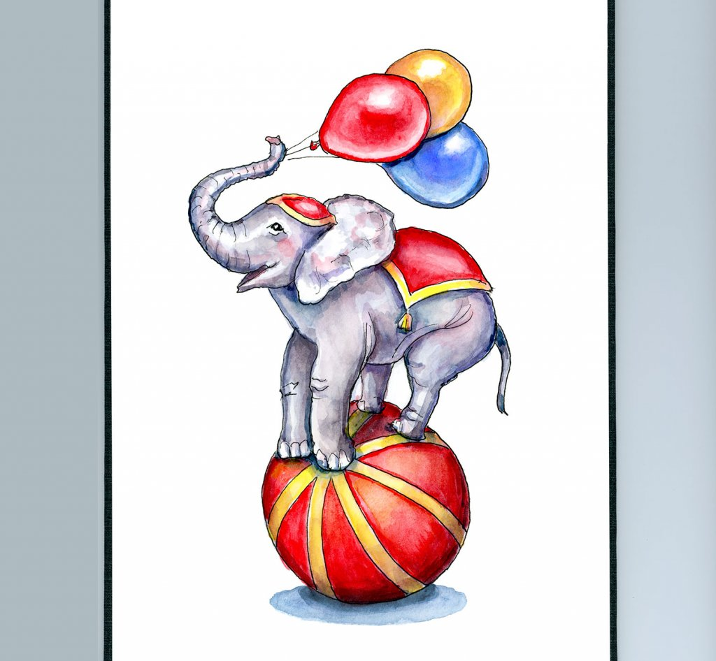 Circus Elephant On Ball With Balloons Watercolor Painting Illustration Sketchbook Detail