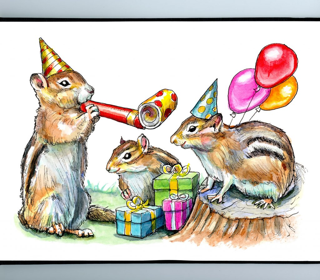 Chimpunks Having A Birthday Party Watercolor Painting Illustration Sketchbook Detail