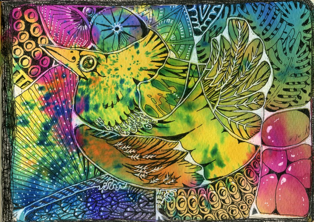 The examples done for my review of Viviva Colorsheets and sketchbook. Hoopoe Abstract-Viviva Colorsh