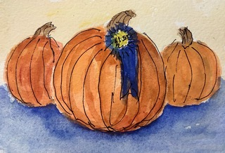 #doodlwashseptember2020 day 9 County Fair: My father was sooo proud when his pumpkin won first prize