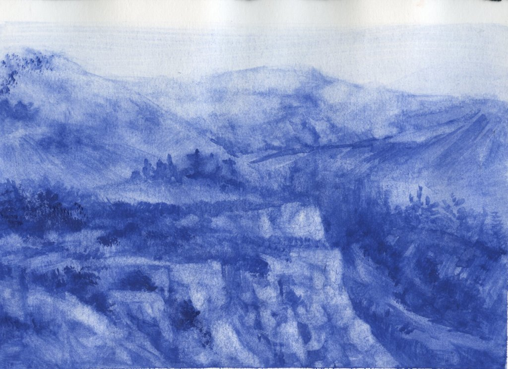 Landscape Painting with YInMn Blue Watercolor
