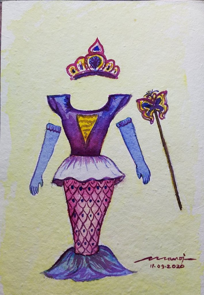 Dt: 11.09.2020 Sub: Dress up Watercolor painting on handmade paper inbound4147068102886446
