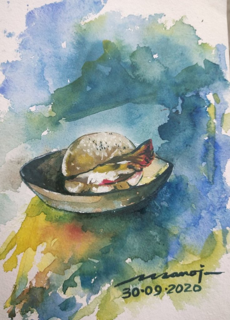 Dt: 30.09.2020 Sub: SUPPER Watercolor painting on handmade paper inbound7464996682808711710