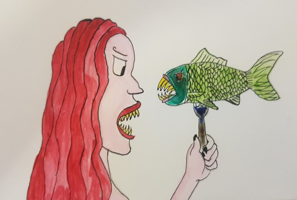 My first watercolour ever. I messed up with the fish head, but I am happy I managed to make the pink