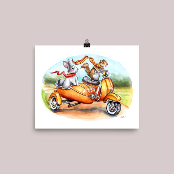 Bunny-Rabbit-And-Squirrel-Riding-Scooter-With-Side-Car-Watercolor-Illustrat_mockup_Transparent_Transparent_8x10 Watercolor Print