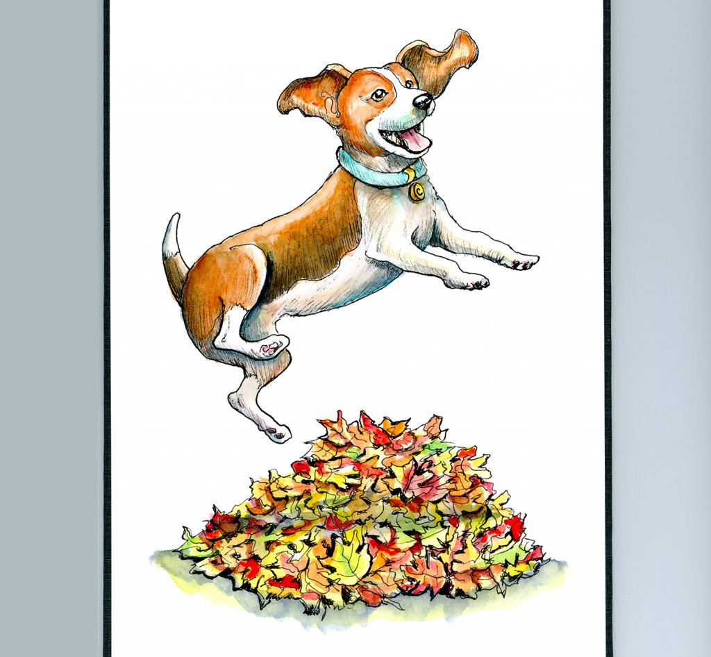 Dog Jumping Into Autumn Fall Leaves Watercolor Illustration Painting Sketchbook Detail