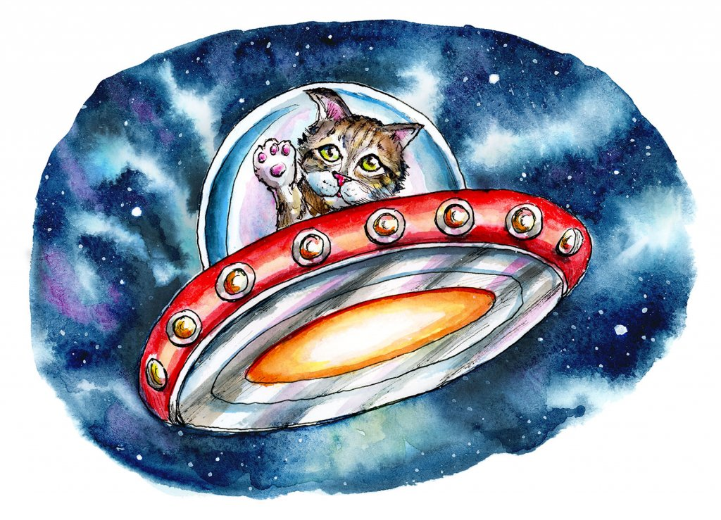 Cat From Outer Space Kitten In Spaceship Galaxy Watercolor Illustration Painting