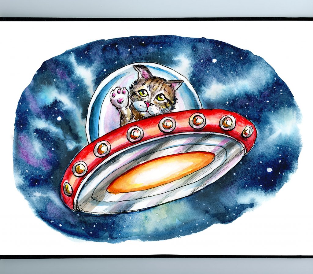 Cat From Outer Space Kitten In Spaceship Galaxy Watercolor Illustration Painting Sketchbook Detail