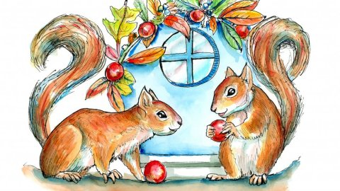 Two Squirrels Decorating House For Fall Autumn Watercolor Illustration Painting