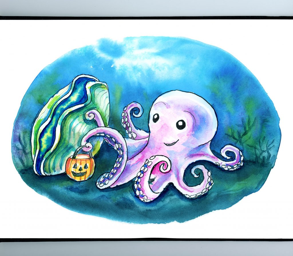 Cute Ghost Octopus Trick Or Treating Giant Clam Underwater Halloween Watercolor Illustration Painting Sketchbook Detail