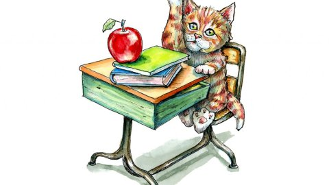 Kitten Cat Tabby School Desk Apple Watercolor Illustration Painting