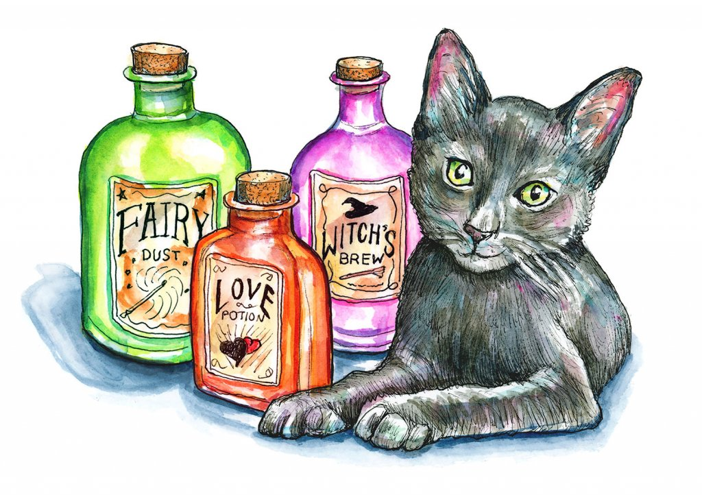 Apothecary Bottles Potions Black Cat Halloween Watercolor Illustration Painting
