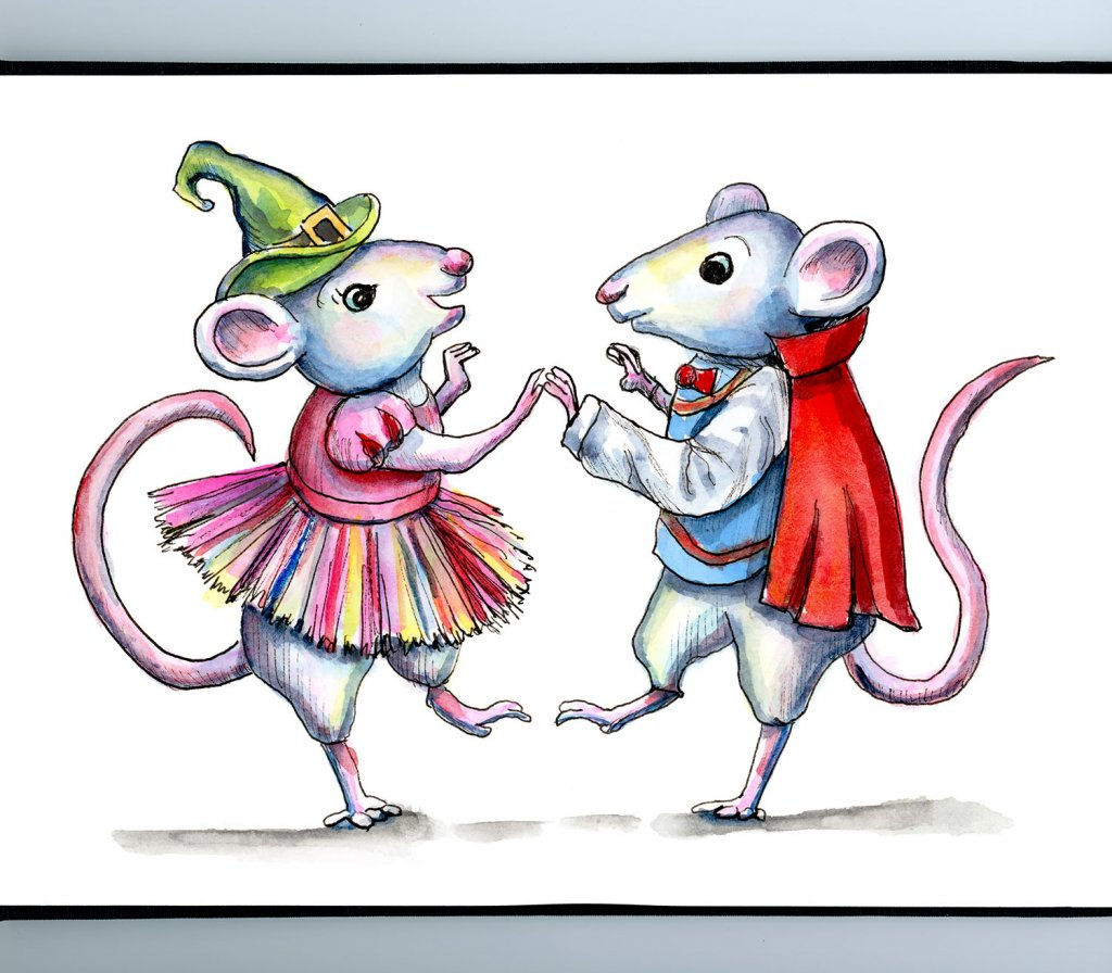 Mice Dancing Costume Party Watercolor Illustration Painting Sketchbook Detail