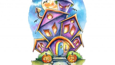 Spooky House Halloween Mouse Watercolor Illustration Painting
