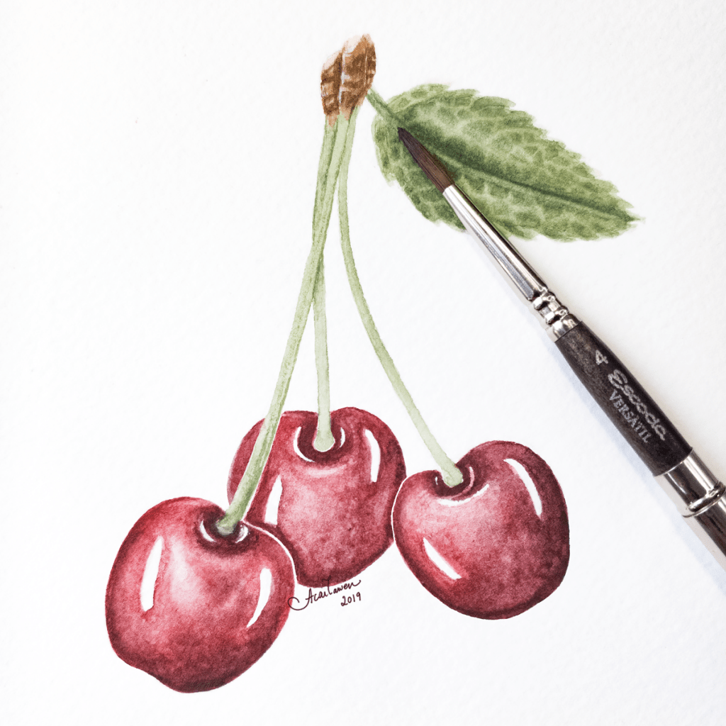 Cherries. Daniel Smith watercolors on Stonehenge Aqua cold press watercolor paper. © 2019, Andrea A