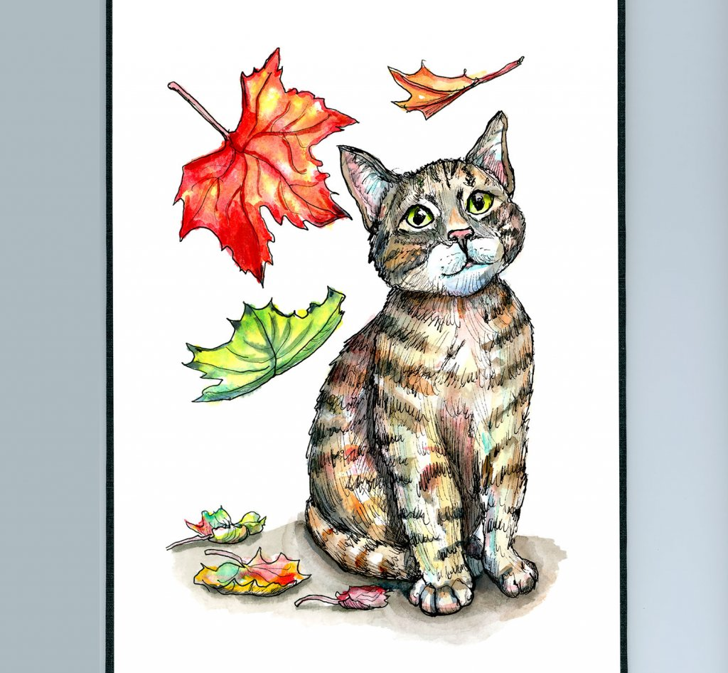 Falling Autumn Fall Leaves Cat Kitten Watercolor Illustration Painting Sketchbook Detail