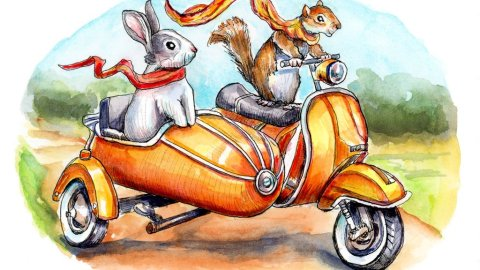 Bunny Rabbit And Squirrel Riding Scooter With Side Car Watercolor Illustration Painting