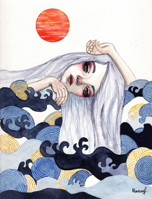 Head Waves Girl Design Watercolor by Maureen Fletcher